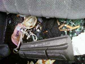 Smashed 1997 Firebird - Rear seat view