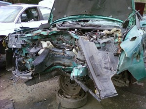 Smashed 1997 Firebird - Front View