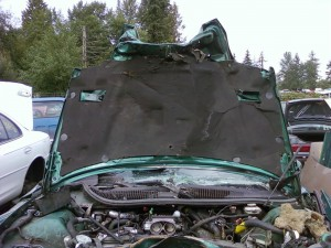 Smashed 1997 Firebird - hood view